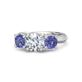 Round Moissanite Sterling Silver Ring with Tanzanite