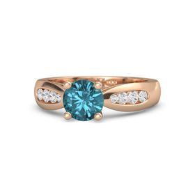 Round London Blue Topaz 14K Rose Gold Ring with White Sapphire