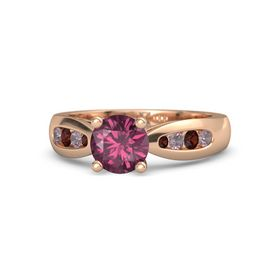 Round Rhodolite Garnet 14K Rose Gold Ring with Rhodolite Garnet and Red Garnet