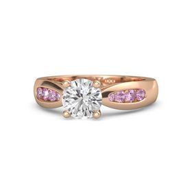 Round White Sapphire 14K Rose Gold Ring with Pink Tourmaline and Pink Sapphire