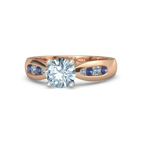 Round Aquamarine 14K Rose Gold Ring with Blue Sapphire and Blue Topaz