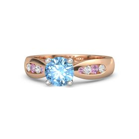 Round Blue Topaz 14K Rose Gold Ring with White Sapphire and Pink Tourmaline