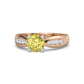 Round Yellow Sapphire 14K Rose Gold Ring with White Sapphire