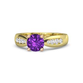 Round Amethyst 14K Yellow Gold Ring with White Sapphire