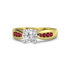 Round White Sapphire 14K Yellow Gold Ring with Ruby