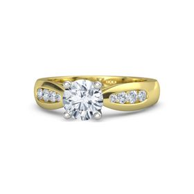 Round Moissanite 14K Yellow Gold Ring with Diamond
