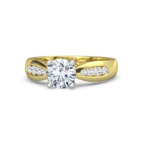 Round Moissanite 14K Yellow Gold Ring with White Sapphire