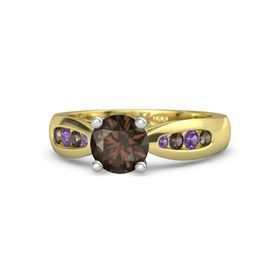 Round Smoky Quartz 14K Yellow Gold Ring with Smoky Quartz and Amethyst