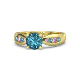 Round London Blue Topaz 14K Yellow Gold Ring with London Blue Topaz and Pink Sapphire