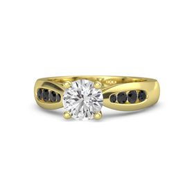 Round White Sapphire 14K Yellow Gold Ring with Black Diamond