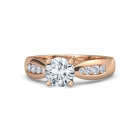Round Moissanite 18K Rose Gold Ring with Diamond