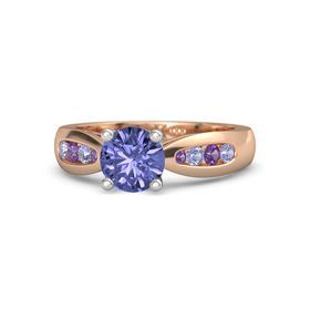 Round Tanzanite 18K Rose Gold Ring with Tanzanite and Amethyst