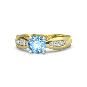Round Blue Topaz 18K Yellow Gold Ring with Diamond