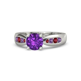 Round Amethyst Palladium Ring with Amethyst and Ruby