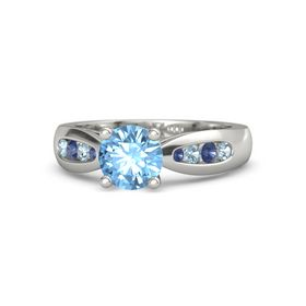 Round Blue Topaz Palladium Ring with Aquamarine and Blue Sapphire