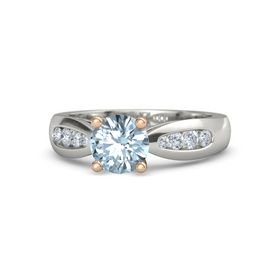 Round Aquamarine Platinum Ring with Diamond