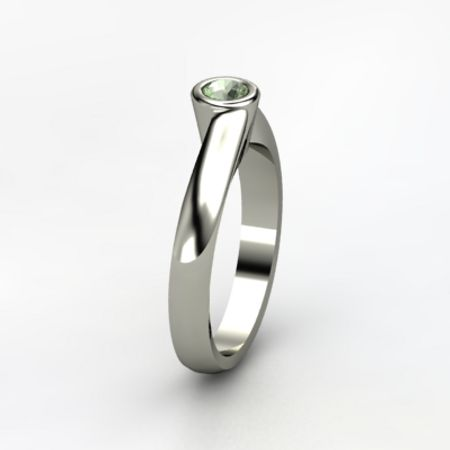 Offset Solitaire Ring