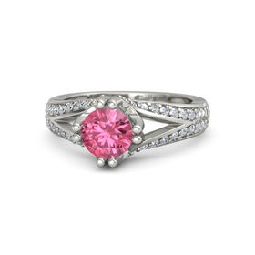 Round Pink Tourmaline Palladium Ring with Diamond