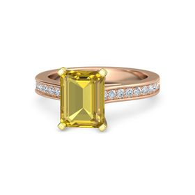Emerald Yellow Sapphire 14K Rose Gold Ring with Diamond
