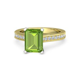 Emerald Peridot 14K Yellow Gold Ring with Diamond