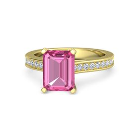 Emerald-Cut Pink Sapphire 14K Yellow Gold Ring with Diamond