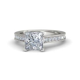 Princess Diamond Platinum Ring with Diamond