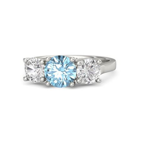 Ivy Three-Stone Round-Cut Ring (7mm gem)