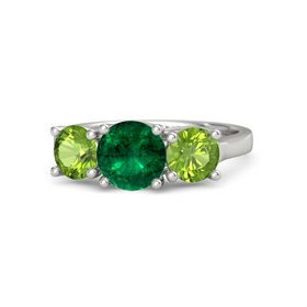 Round Emerald 18K White Gold Ring with Peridot