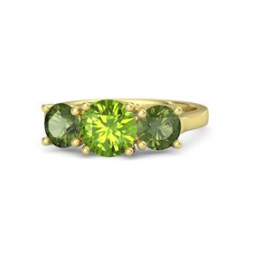 Round Peridot 18K Yellow Gold Ring with Green Tourmaline