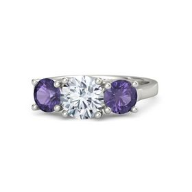 Round Diamond Platinum Ring with Iolite
