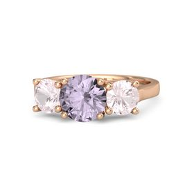Round Rose de France 14K Rose Gold Ring with Rose Quartz
