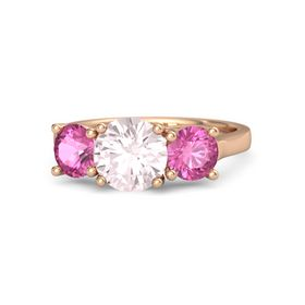 Round Rose Quartz 14K Rose Gold Ring with Pink Sapphire