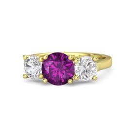 Round Rhodolite Garnet 14K Yellow Gold Ring with White Sapphire