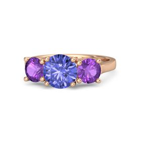 Round Tanzanite 18K Rose Gold Ring with Amethyst