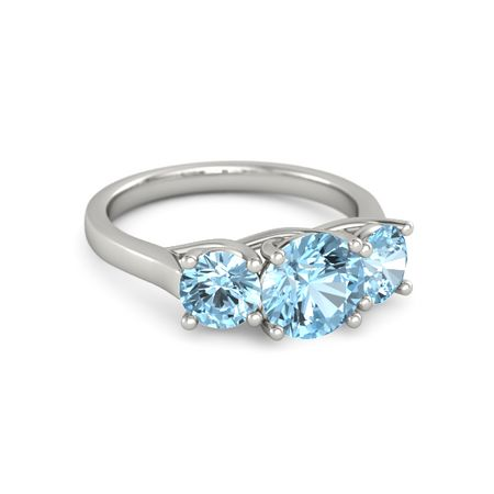 Ivy Three-Stone Round-Cut Ring (7.5mm gem)