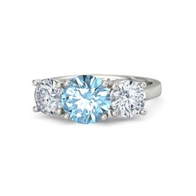 Round Aquamarine 14K White Gold Ring with Moissanite