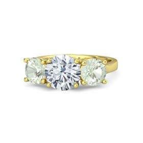 Round Diamond 14K Yellow Gold Ring with Green Amethyst