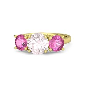 Round Rose Quartz 14K Yellow Gold Ring with Pink Sapphire