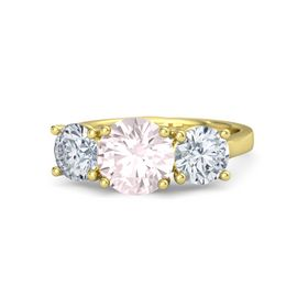 Round Rose Quartz 14K Yellow Gold Ring with Moissanite