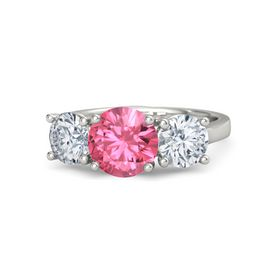 Round Pink Tourmaline 18K White Gold Ring with Moissanite