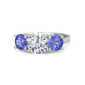 Round Moissanite Palladium Ring with Tanzanite