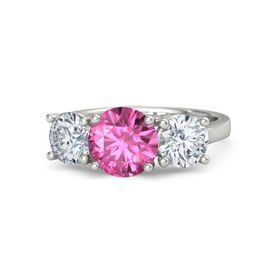 Round Pink Sapphire Platinum Ring with Moissanite