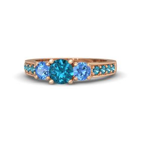 Round London Blue Topaz 14K Rose Gold Ring with Blue Topaz and London Blue Topaz