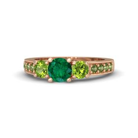 Round Emerald 14K Rose Gold Ring with Peridot & Green Tourmaline