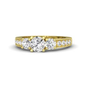 Round White Sapphire 14K Yellow Gold Ring with White Sapphire