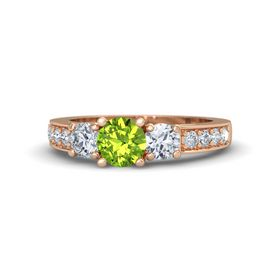 Round Peridot 18K Rose Gold Ring with Diamond