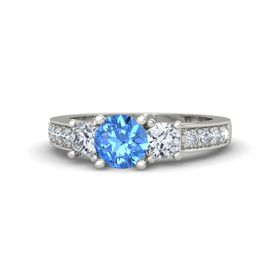 Round Blue Topaz 18K White Gold Ring with Diamond