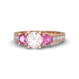 Round Rose Quartz 14K Rose Gold Ring with Pink Sapphire and Diamond