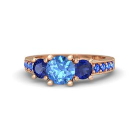 Round Blue Topaz 14K Rose Gold Ring with Blue Sapphire