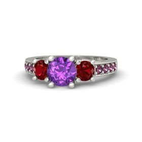 Round Amethyst 14K White Gold Ring with Ruby and Rhodolite Garnet